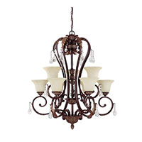 Capital Lighting Amberleigh 9 Light Chandelier in Chesterfield Brown with Crystals 3849CB-285-CR photo thumbnail