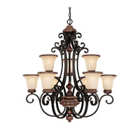 Capital Lighting Foxborough 9 Light Chandelier in Iron and Umber with Mist Scavo Glass 3869IU-252R photo thumbnail