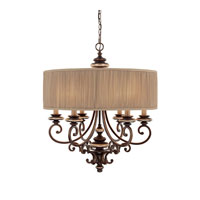Capital Lighting Park Place 6 Light Chandelier in Champagne Bronze 3885CZ-446
