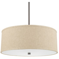 Midtown 5 Light 24 inch Burnished Bronze Pendant Ceiling Light in Light Tan Fabric Shade