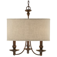 Midtown 3 Light 20 inch Burnished Bronze Chandelier Ceiling Light in Light Tan Fabric Shade