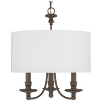 Capital Lighting Midtown 3 Light Chandelier in Burnished Bronze with White Fabric Shade 3913BB-453