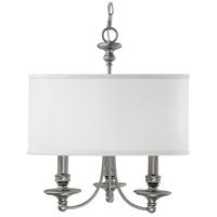 Midtown 3 Light 20 inch Matte Nickel Chandelier Ceiling Light in White Fabric Shade