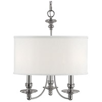 Midtown 3 Light 20 inch Polished Nickel Chandelier Ceiling Light in White Fabric Shade