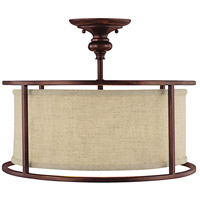 Midtown 3 Light 17 inch Burnished Bronze Semi-Flush Mount Ceiling Light in Light Tan Fabric Shade