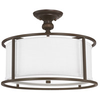 Capital Lighting Midtown 3 Light Semi-Flush in Burnished Bronze with White Fabric Shade 3914BB-459