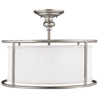Midtown 3 Light 17 inch Matte Nickel Semi-Flush Mount Ceiling Light in White Fabric Shade
