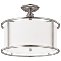 Midtown 3 Light 17 inch Polished Nickel Semi-Flush Mount Ceiling Light in White Fabric Shade