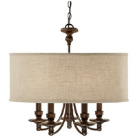 Midtown 5 Light 25 inch Burnished Bronze Chandelier Ceiling Light in Light Tan Fabric Shade