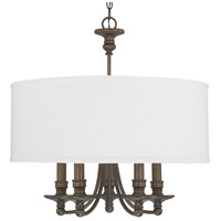 Capital Lighting Midtown 5 Light Chandelier in Burnished Bronze with White Fabric Shade 3915BB-455