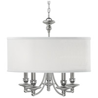 Midtown 5 Light 25 inch Matte Nickel Chandelier Ceiling Light in White Fabric Shade