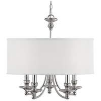 Midtown 5 Light 25 inch Polished Nickel Chandelier Ceiling Light in White Fabric Shade