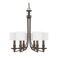 Capital Lighting Midtown 6 Light Chandelier in Burnished Bronze with White Fabric Stay-Straight Shades 3916BB-451