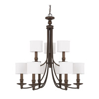 Capital Lighting Midtown 9 Light Chandelier in Burnished Bronze with White Fabric Stay-Straight Shades 3919BB-451