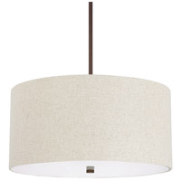 Capital Lighting Loft 4 Light Pendant in Burnished Bronze with Light Tan Fabric Shade 3922BB-613