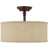 Loft 3 Light 15 inch Burnished Bronze Semi-Flush Mount Ceiling Light in Beige Fabric Shade