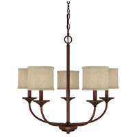 Loft 5 Light 27 inch Burnished Bronze Chandelier Ceiling Light in Beige Fabric Shade