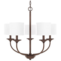 Loft 5 Light 27 inch Burnished Bronze Chandelier Ceiling Light in White Fabric Shade