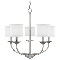 Loft 5 Light 27 inch Matte Nickel Chandelier Ceiling Light in White Fabric Shade