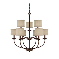 Loft 9 Light 32 inch Burnished Bronze Chandelier Ceiling Light in Beige Fabric Shade