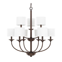 Loft 9 Light 32 inch Burnished Bronze Chandelier Ceiling Light in White Fabric Shade