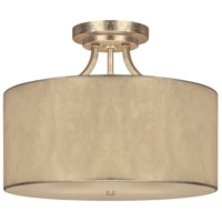 Luna 3 Light 17 inch Winter Gold Semi-Flush Mount Ceiling Light