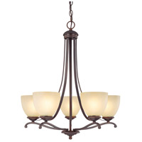 Capital Lighting Chapman 5 Light Chandelier in Burnished Bronze with Tumbleweed Glass 3945BB-201