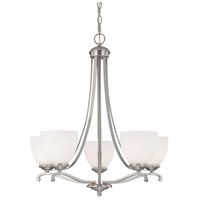 Capital Lighting Chapman 5 Light Chandelier in Matte Nickel with Soft White Glass 3945MN-202