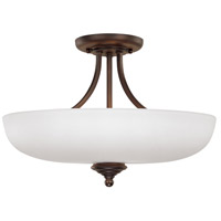 Chapman 3 Light Burnished Bronze Semi-Flush Ceiling Light in Soft White