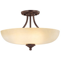 Capital Lighting Chapman 3 Light Semi-Flush Mount in Burnished Bronze with Tumbleweed Glass 3947BB-TW