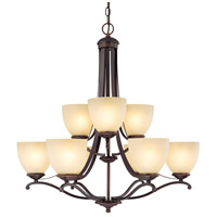 Capital Lighting Chapman 9 Light Chandelier in Burnished Bronze with Tumbleweed Glass 3949BB-201