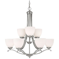 Capital Lighting Chapman 9 Light Chandelier in Matte Nickel with Soft White Glass 3949MN-202