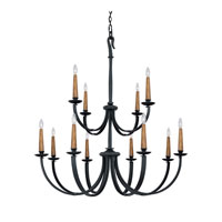 Capital Lighting Heritage 12 Light Chandelier in Black Iron 3992BI