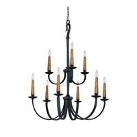 Capital Lighting Heritage 9 Light Chandelier in Black Iron 3999BI