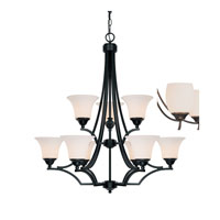 Capital Lighting Towne & Country 9 Light Chandelier in Basic Black with Soft White Glass 4029BC-114 photo thumbnail