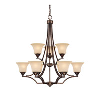 Capital Lighting Towne & Country 9 Light Chandelier in Rustic with Mist Scavo Glass 4029RT-107