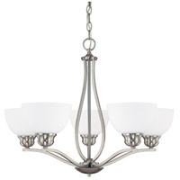 Capital Lighting Stanton 5 Light Chandelier in Brushed Nickel with Soft White Glass 4035BN-212