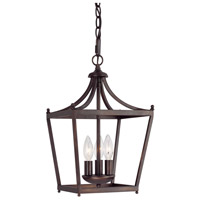Stanton 3 Light 10 inch Burnished Bronze Foyer Ceiling Light in Mist Scavo Glass