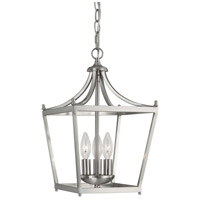 Stanton 3 Light 10 inch Brushed Nickel Foyer Ceiling Light in Soft White Glass
