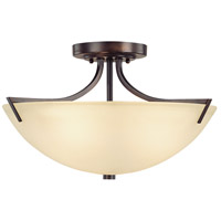 Capital Lighting Stanton 3 Light Semi-Flush Mount in Burnished Bronze with Mist Scavo Glass 4037BB