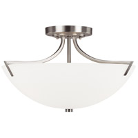 Capital Lighting Stanton 3 Light Semi-Flush Mount in Brushed Nickel with Soft White Glass 4037BN