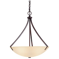 Capital Lighting Stanton 3 Light Pendant in Burnished Bronze with Mist Scavo Glass 4038BB