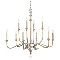 Charleston 10 Light 34 inch Silver and Gold Leaf Chandelier Ceiling Light