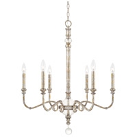 Charleston 6 Light 26 inch Silver and Gold Leaf Chandelier Ceiling Light