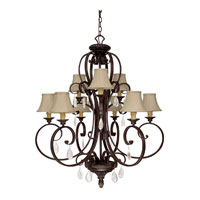 Capital Lighting Brandon Hall 9 Light Chandelier in Mediterranean Bronze with Crystals 4139MBZ-421-CR photo thumbnail