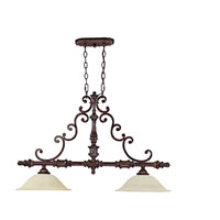 Capital Lighting Chesterfield 2 Light Island Light in Chesterfield Brown with Rust Scavo Glass 4152CB
