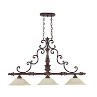 Capital Lighting Chesterfield 3 Light Island Light in Chesterfield Brown with Rust Scavo Glass 4153CB