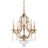 Capital Lighting Blakely 4 Light Chandelier in Antique Gold with Crystals 4184AG-CR