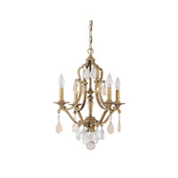 Capital Lighting Blakely 4 Light Chandelier in Antique Gold with Painted Crystals 4184AG-PC