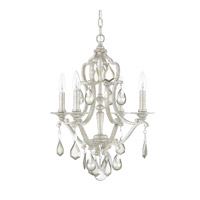 Capital Lighting Blakely 4 Light Mini Chandelier in Antique Silver with Clear and Antique Crystals 4184AS-PC